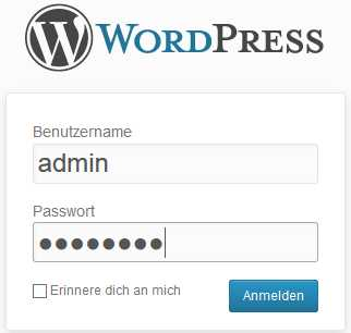 WordPress, Standardbenutzer, Admin