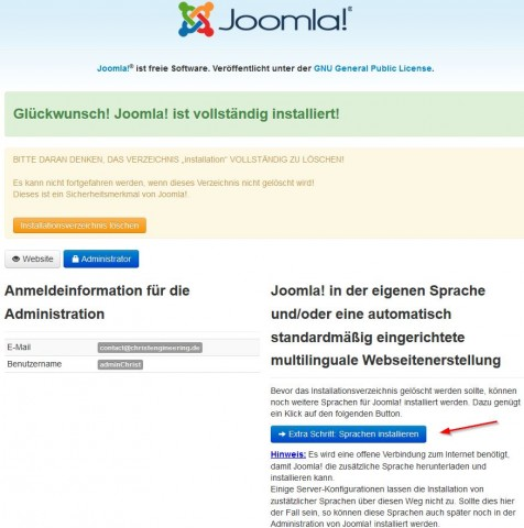 Joomla Start der multilingualen Webseite