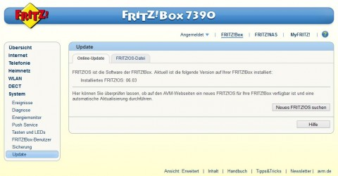 AVM Fritz!Box Online Update